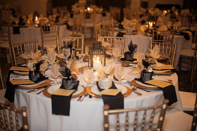 portrait of tables with decorations