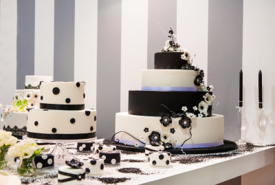 portrait of black and white giant cakes
