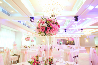 pink table set for dining, an indoor party